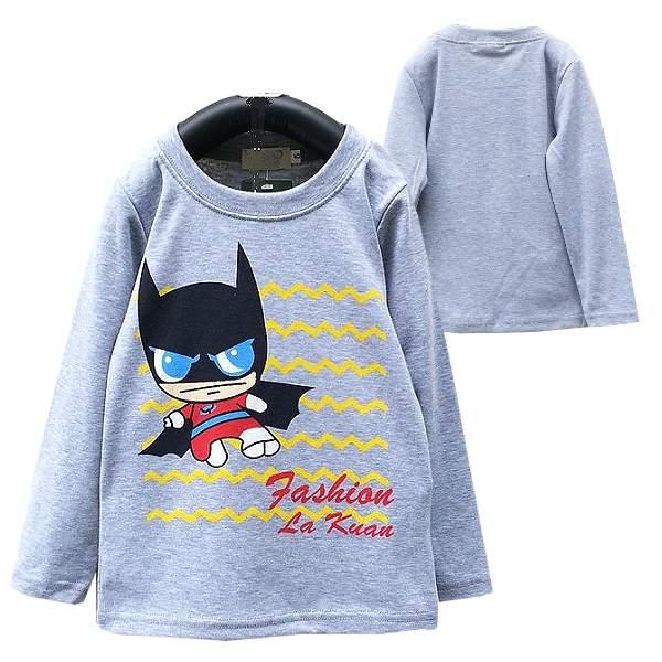 【班比納精品童裝】彈力可愛蝙蝠俠公仔上衣-灰【BO150807018】