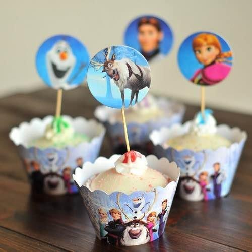 =優生活=烘焙包裝紙杯蛋糕 蛋糕裝飾 插牌圍邊+插牌裝飾 派對用品 兒童生日 彌月蛋糕 收綖蛋糕【冰雪奇緣】