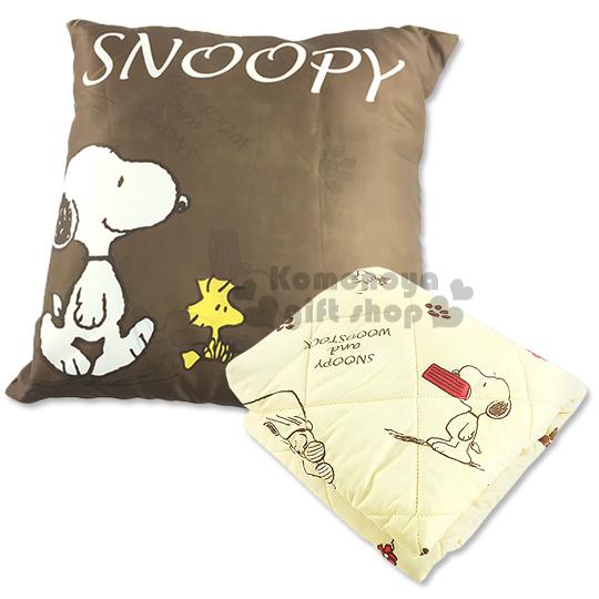 〔小禮堂〕史努比 抱枕毯被《深棕.站姿.花.糊塗塔克》