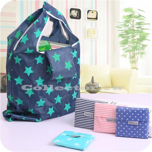 【F16062201】時尚可折疊環保購物袋 加大收納袋 牛津布條紋星星印花手提袋