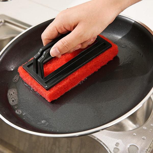 PS Mall 帶手柄海綿底清潔刷 廚房水槽清潔刷 浴室清潔刷【J403】