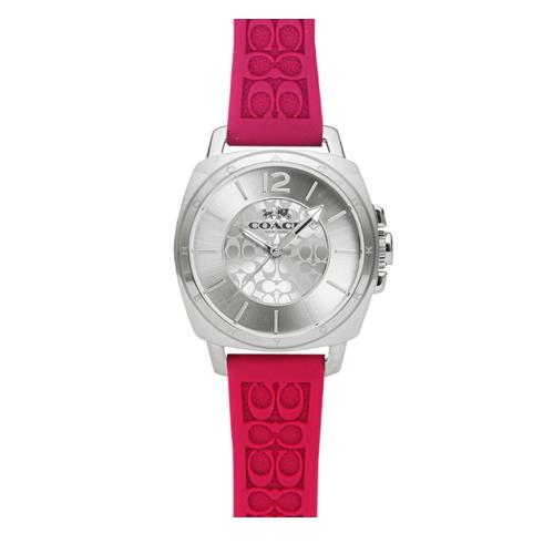 COACH 時尚風格C LOGO面盤女腕錶/銀色x桃紅/34mm/14502092