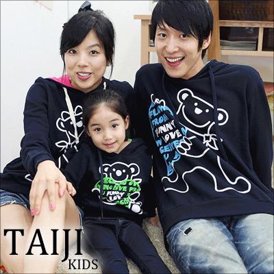親子帽T【NTJR118B】日韓風格‧親子款拼色小熊連帽長T(小孩)‧一色‧情侶/男童/女童
