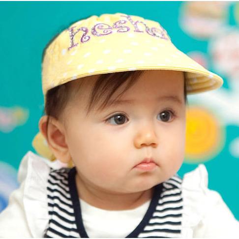 Kocotree◆可愛點點質感字母刺繡舒棉兒童帽防曬帽空頂帽-黃色