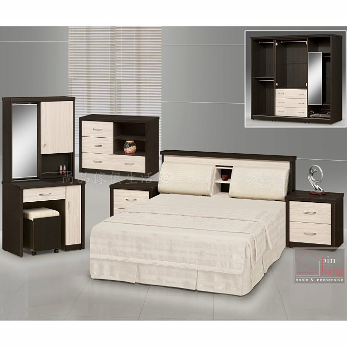 【尚品傢俱】761-04 杜魯門 雙色五尺床組~另有六尺/寢飾家具組/臥室傢俱組/套房床組/雅房床組/房間床組