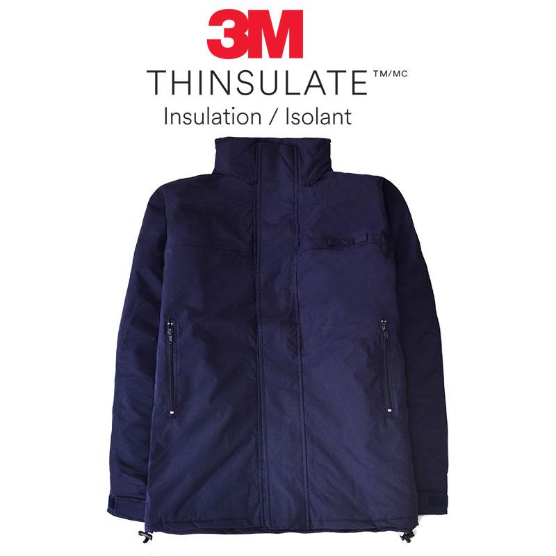 【safetylite安心生活館】《免運+贈禮》立領藏帽鋪棉深藍素面長版外套~超保暖3M Thinsulate