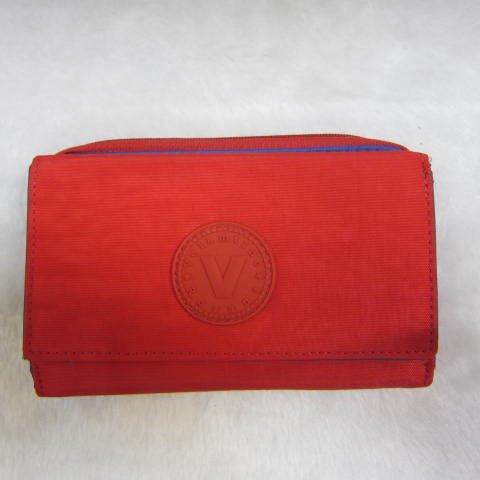 ~雪黛屋~Velamtino 中型女用休閒皮夾進口專櫃防水尼龍布暗釦型三折式大容量設計 A136-034 紅