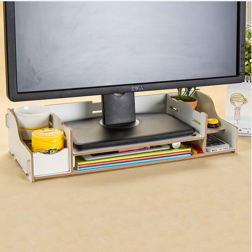 WallFree窩自在★升級可調高度加厚木質電腦螢幕收納架-白色