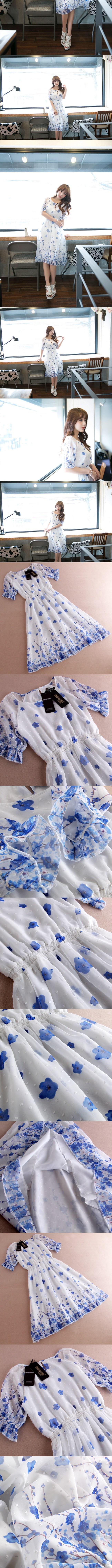 洋裝-短袖喇叭袖荷葉邊繫帶V領女連身裙