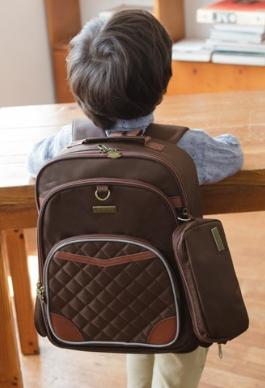Lemonkid◆皇家學院菱格反光條多層學生書包兒童幼稚園小學書包後背包雙肩包(附筆袋)-咖啡