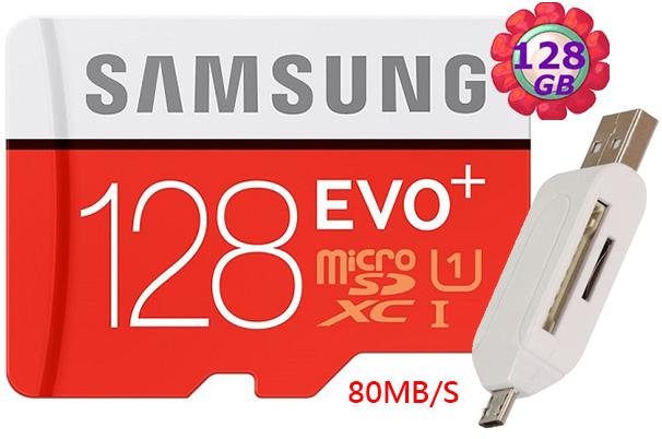 附T05 OTG讀卡機 Samsung 128GB 128G microSDXC【80MB/s】EVO Plus microSD micro SD SDXC UHS UHS-I U1 C10 原廠包裝..