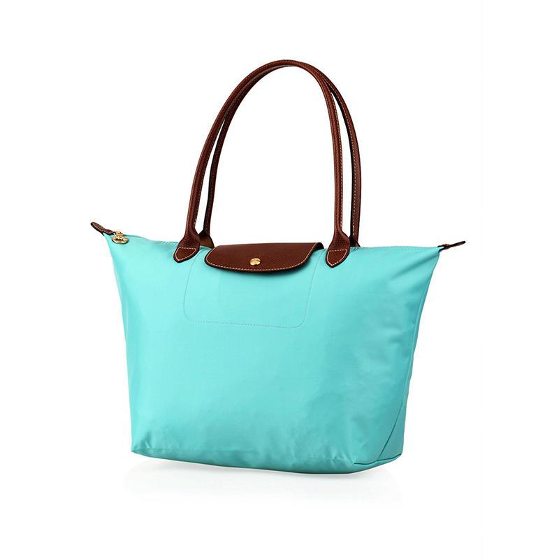 [長柄M號]國外Outlet代購正品 法國巴黎 Longchamp [1899-M號] 長柄 購物袋防水尼龍手提肩背水餃包 湖水綠