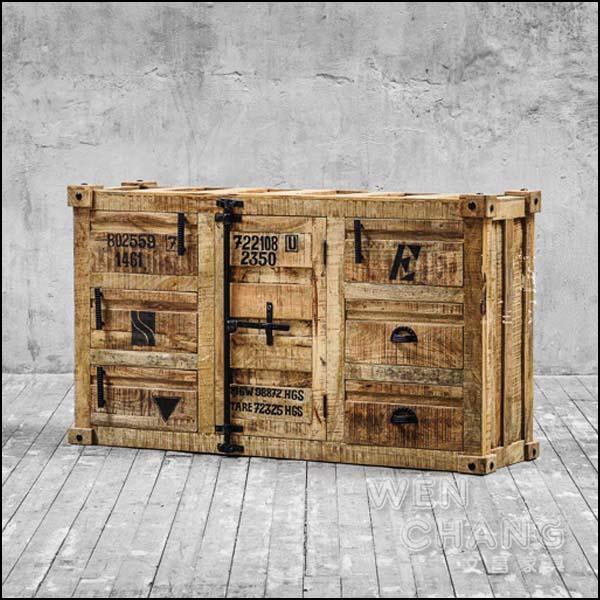 LOFT 工業風 復古舊貨風格 倉儲風 做舊 格雷貨櫃造型餐邊櫃 CB040 *文昌家具*