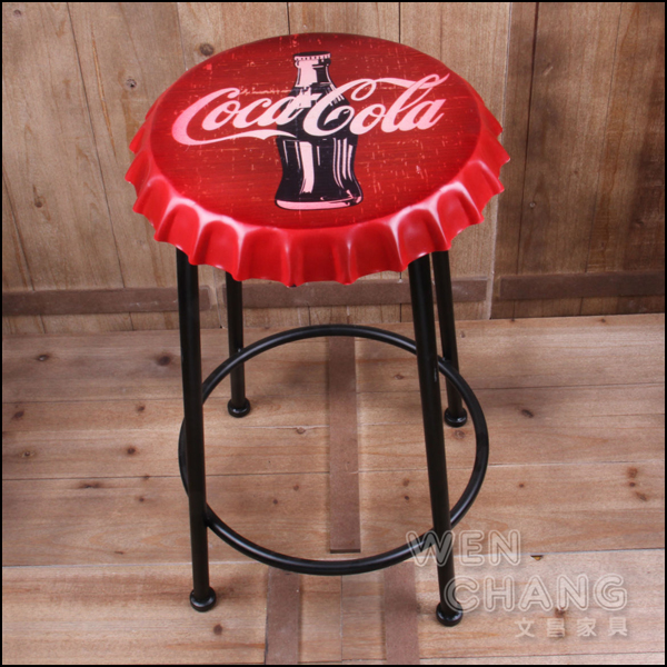 LOFT 美式鄉村工業風 復古 啤酒蓋 可樂瓶蓋造型吧檯椅 特價 ST043 *文昌家具*