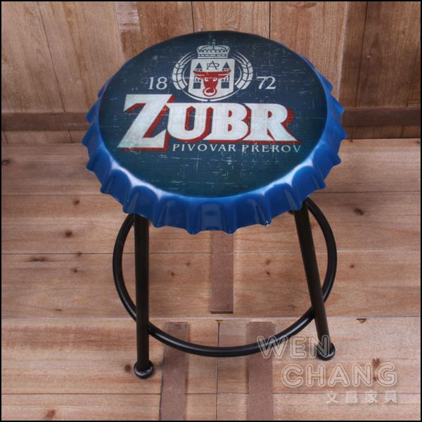 LOFT 美式鄉村工業風 復古 啤酒蓋 可樂瓶蓋造型椅凳 矮版 特價 ST044 *文昌家具*