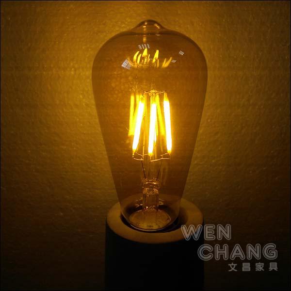 愛迪生復古LED燈泡 E27 6W 工業 loft 風 LED木瓜燈泡 LBU011 寬電壓《特價》 *文昌家具*