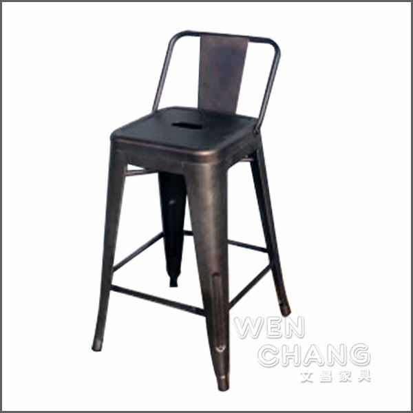 *文昌家具*Tolix H Stool 法國工業風 60cm 鏽鐵色 有背吧台椅 中島椅 復刻版 《特價》ST002B-RS