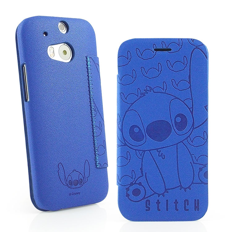 【Disney 】HTC One (M8)Stitch史迪奇時尚壓紋皮套