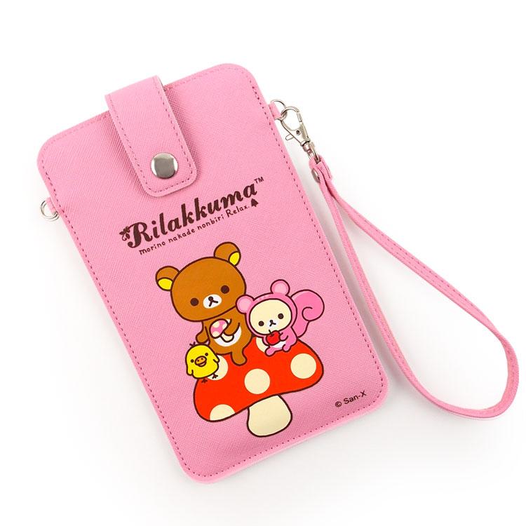 Rilakkuma 拉拉熊/懶懶熊 6.3吋通用彩繪皮革手機袋-蘑菇好朋友
