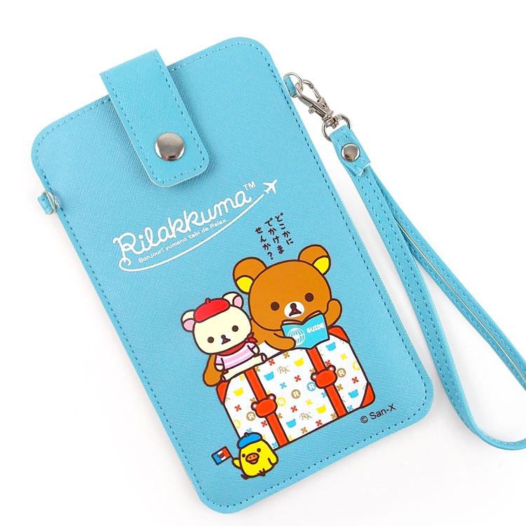 Rilakkuma 拉拉熊/懶懶熊 6.3吋通用彩繪皮革手機袋-GO旅行去