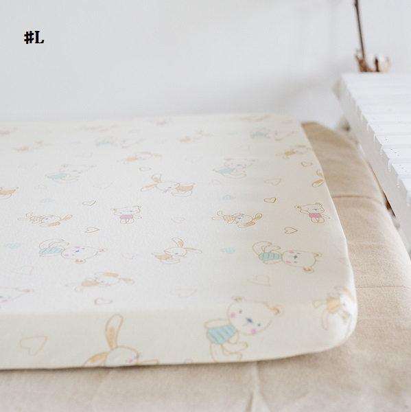 嬰兒【精梳棉】床包。嬰兒床單。嬰兒床罩-L小熊與小兔