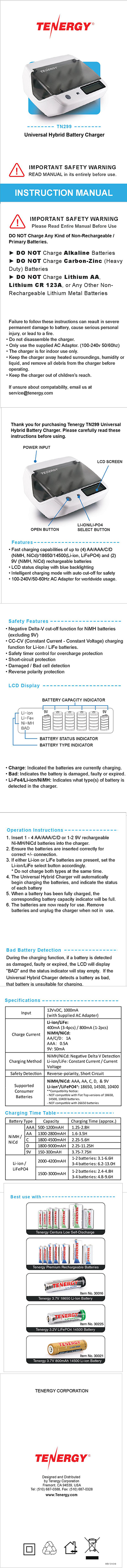 Tenergy Tn299 Hybrid Nimh Nicd Li Ion Lifepo4 Batteries How To Build And Battery Charger Circuit X 1 Power Adapter
