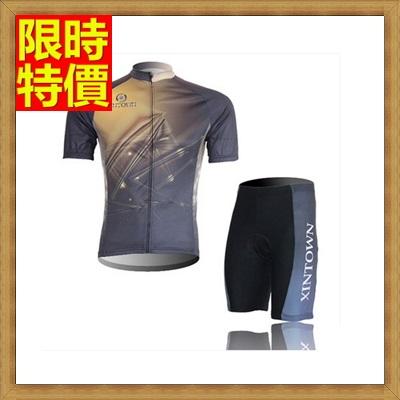 短袖自行車衣套裝含腳踏車服+單車褲-輕軟修身彈性男運動服69u12【獨家進口】【米蘭精品】