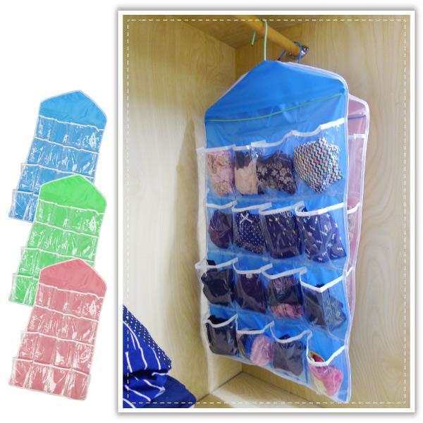 【aife life】可掛式16格收納袋/衣物收納袋/透明懸掛式/門後收納/收納掛袋/襪子收納/衣櫥收納袋/衣架