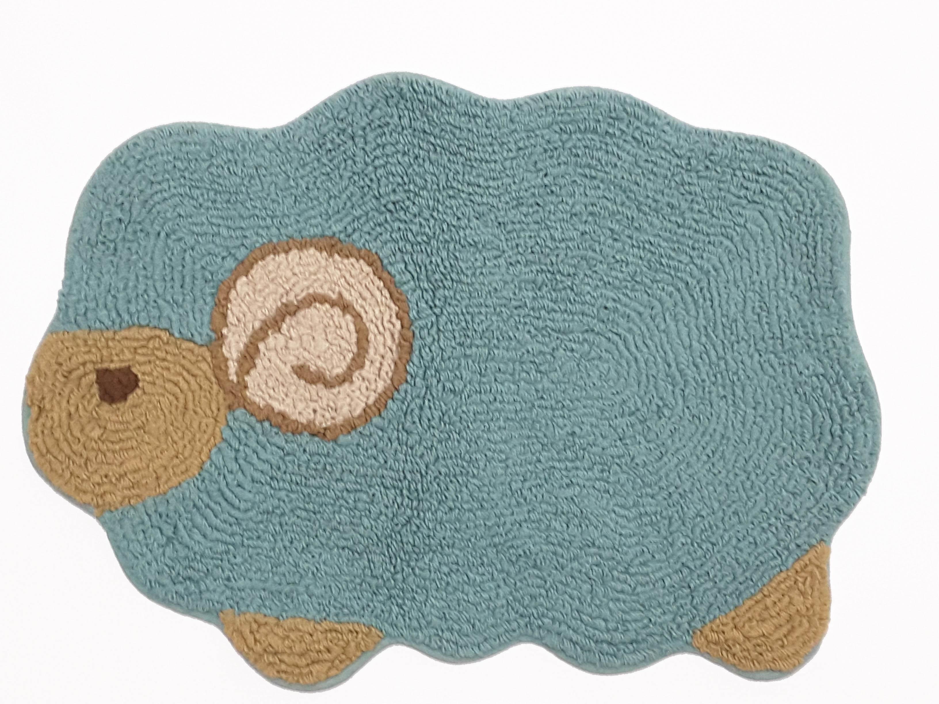 La maison生活小舖《繽紛馬卡龍天空藍綿羊腳踏墊》吸水防滑 柔順觸感 可愛造型地墊/軟墊/腳踏墊/止滑墊/吸水墊/軟毛墊