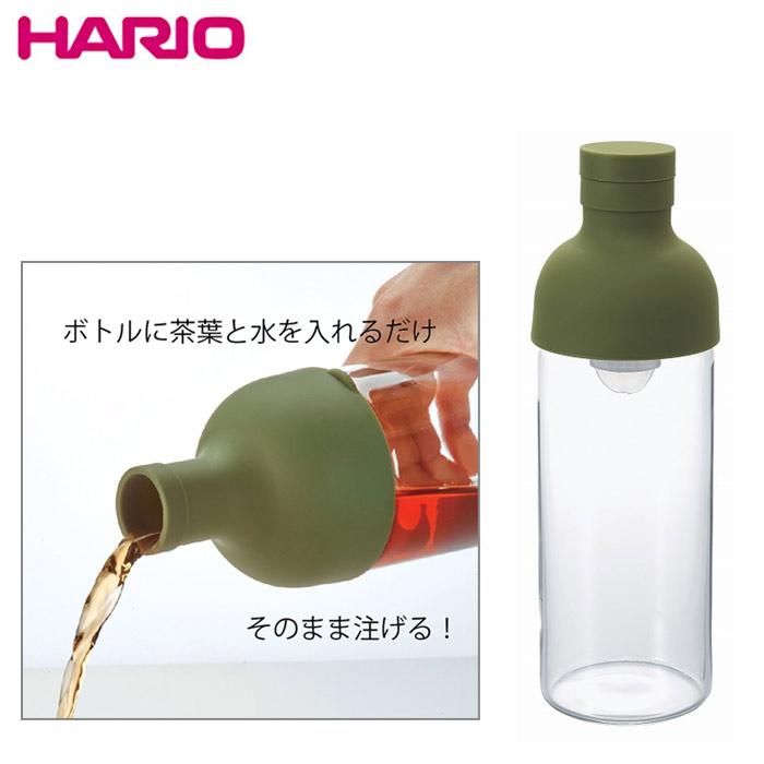 【HARIO】酒瓶造型冷泡茶玻璃水壺300ml-橄欖綠 / FIB-30-OG