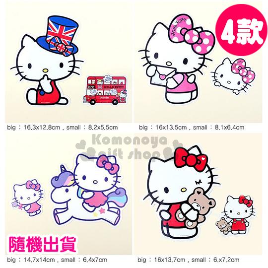 〔小禮堂韓國館〕 Hello Kitty 造型防水貼紙《4款.隨機出貨.抱熊/點點蝴蝶結/英國/獨角獸》