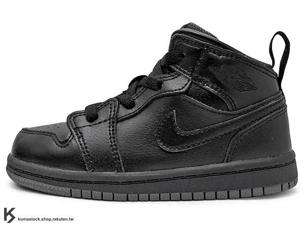 海外入荷 台灣未發售 2015 NIKE JORDAN 1 RETRO MID TD BT BLACK GREY 幼童鞋 BABY 鞋 全黑 灰底 黑灰 AJ 一代 AIR (640735-021) ..