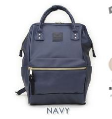 『日本代購品』大款皮質 NA藍色 anello 新款 皮質大開口後背包 皮製2WAY手提包超便利寬口包