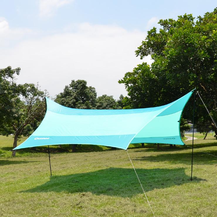 好野 Outthere蝶型天幕帳(小430 x 350cm)-青色-整套含柱繩釘AW00102 [阿爾卑斯戶外/露營] 土城