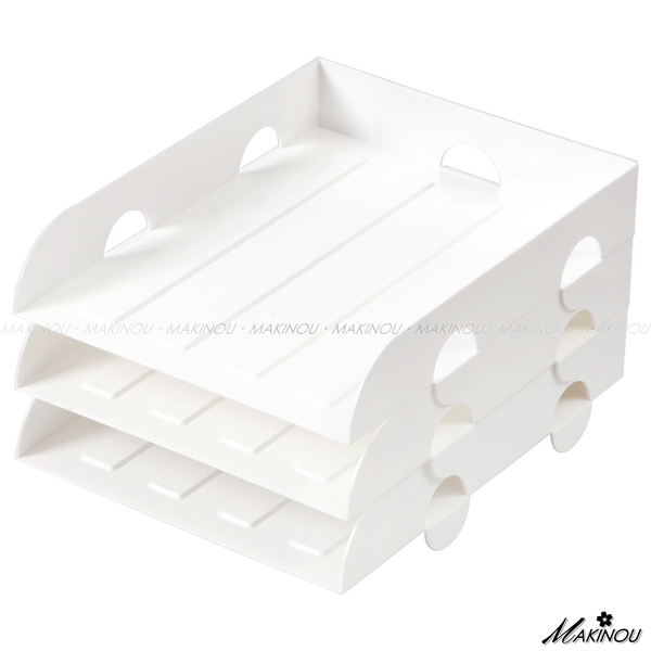 桌面收納|日本MAKINOU三層階梯式文件收納盒-台灣製|辦公文件收納盒抽屜收納箱