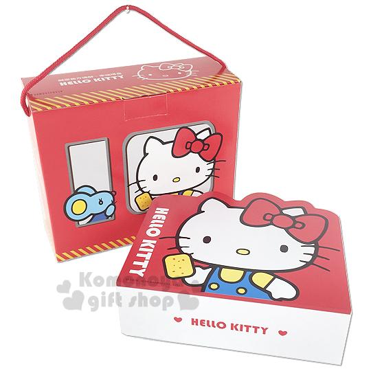 〔小禮堂〕Hello Kitty 鹹蛋黃方塊酥 幸福禮盒《紅盒.窗戶.老鼠》