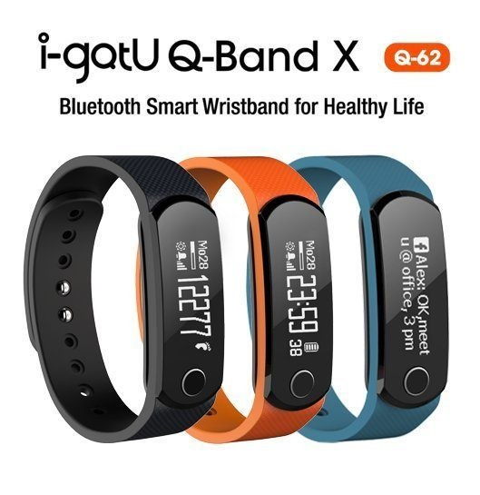 i-gotU Q-Band Q62 藍牙智慧手環/黑藍橘三色腕帶/曬傷提醒/卡路里消耗