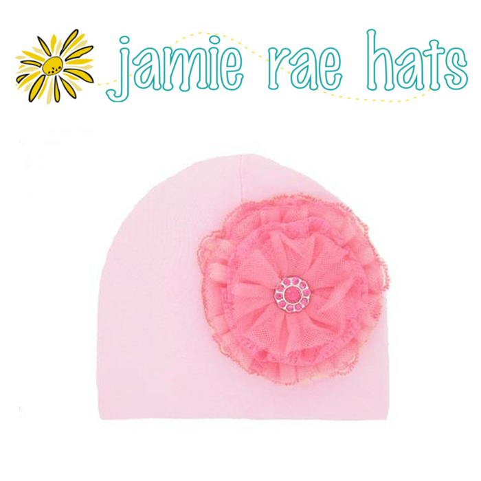 ★啦啦看世界★ Jamie Rae Hats 糖果蕾絲花粉紅棉帽/ 嬰兒帽 出生禮 彌月禮 小孩帽 兒童帽