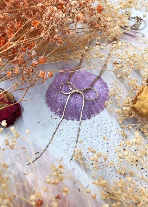 韓國飾品,蝴蝶結造型項鍊,金色項鍊