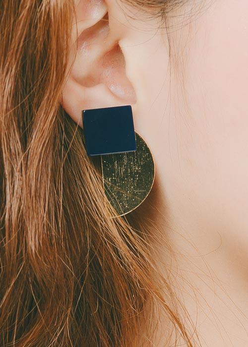 韓國飾品,個性耳環,幾何造型耳環,夾式耳環