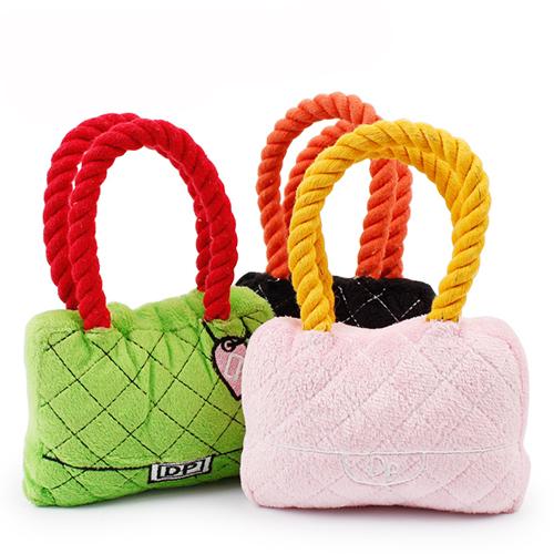 【小樂寵】菱格紋手提包咬繩發聲玩具