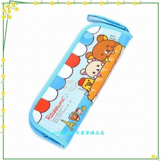 asdfkitty可愛家☆懶懶熊/拉拉熊藍色餐具袋/筆袋/收納袋-韓國版