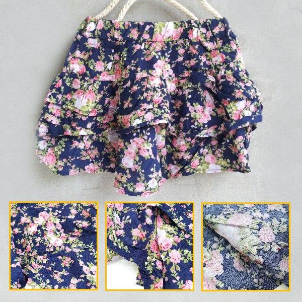 【班比納精品童裝】小碎花蛋糕裙褲-藍【BO140327013】