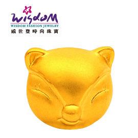 3D硬黃金立體千足金 可愛狐狸 0.26錢 手鍊 項鍊 推薦禮物 特價優惠款
