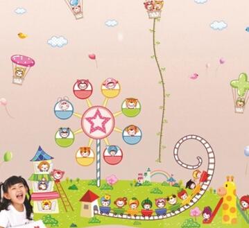 新款繽紛兒童遊樂園大型牆貼兒童房幼兒園裝飾可移除身高尺貼畫【mo-40988700084】