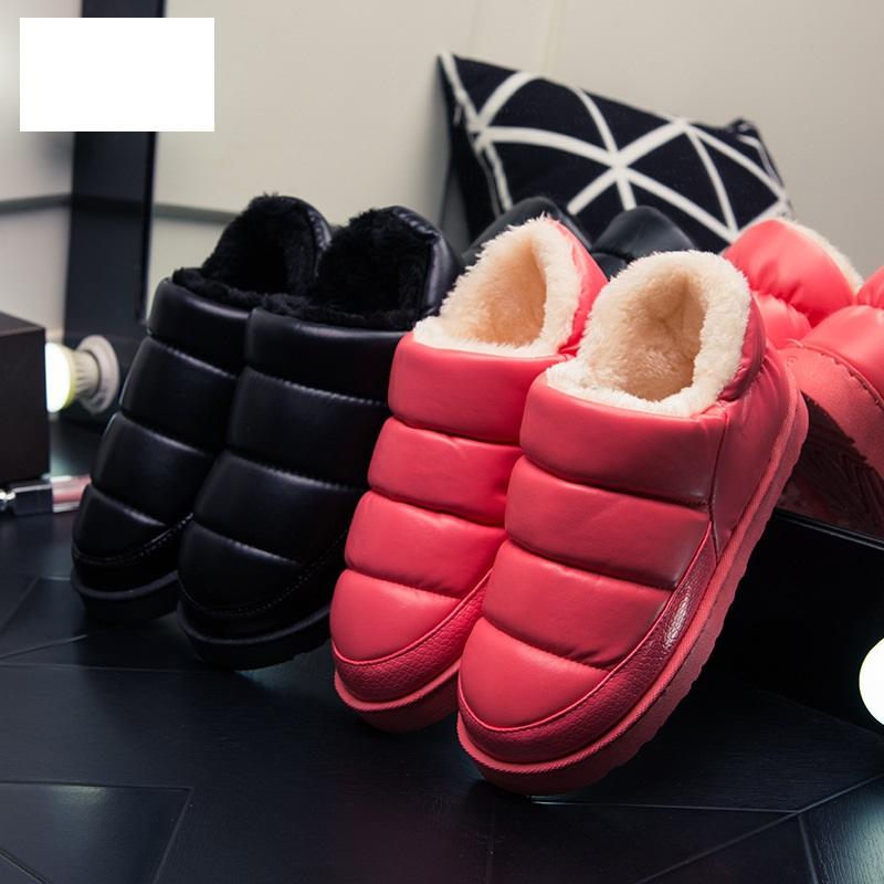 毛毛裡雪靴棉鞋秋冬拖鞋仿皮質下雨防水防滑保暖拖鞋家居鞋情侶鞋聖誕節禮物