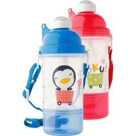 PUKU藍色企鵝 - 雙層水壺 350cc (水藍/粉紅)