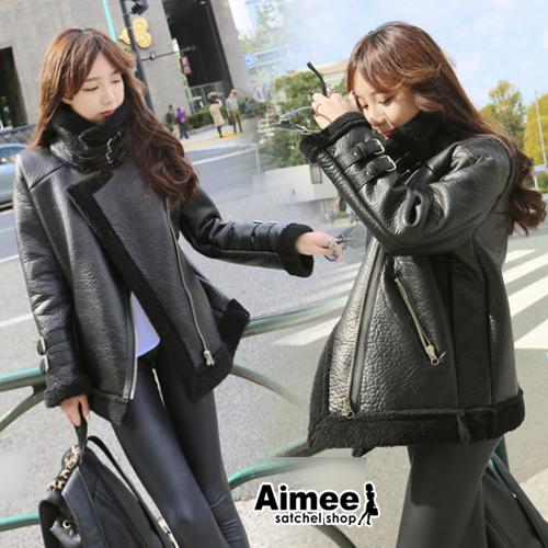 【預購】【Aimee】首爾黎泰院歐風服飾‧倫敦咖啡賽車龐克搖滾魅力黑羔羊皮衣夾克‧正韓空運麂皮大衣風衣西裝外套復古機車外套帥氣酷感