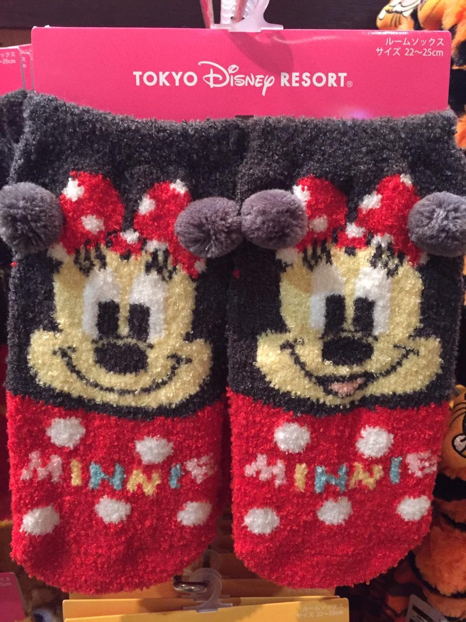 【真愛日本】16030100007樂園限定毛襪-米妮 迪士尼 米老鼠米奇 米妮  短襪 毛襪 襪子 居家