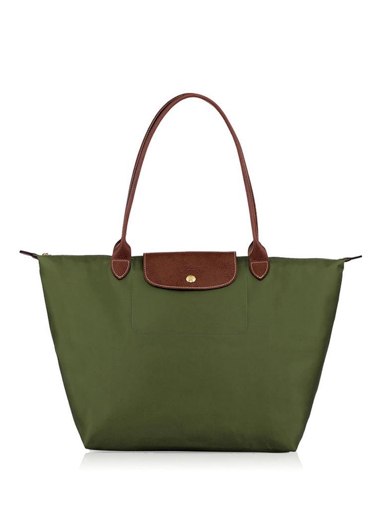 [長柄M號]國外Outlet代購正品 法國巴黎 Longchamp [1899-M號] 長柄 購物袋防水尼龍手提肩背水餃包 軍綠色